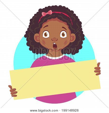 Surprised African or Afro-American girl holding blank poster. Blank message illustration. Hands holding blank paper