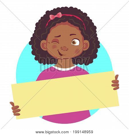 Winking African or Afro-American girl holding blank poster. Blank message illustration. Hands holding blank paper