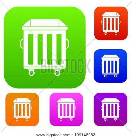 Dumpster on wheels set icon in different colors isolated vector illustration. Premium collection