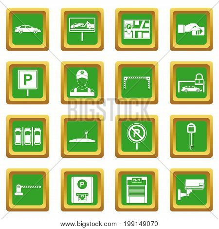 Car parking icons set in green color isolated vector illustration for web and any design