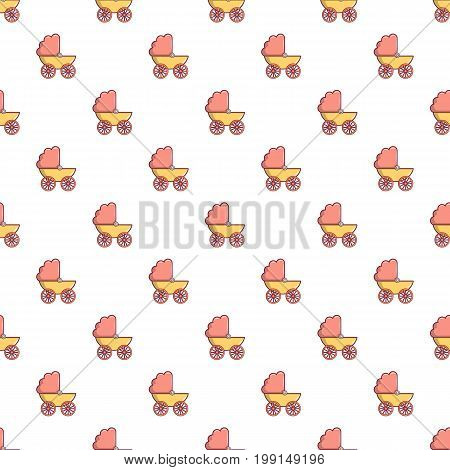 Baby carriage pattern in cartoon style. Seamless pattern vector illustration
