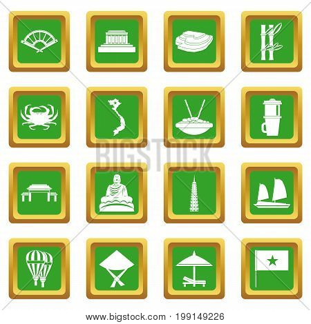 Vietnam travel icons set in green color isolated vector illustration for web and any design