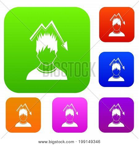 Man with falling red graph over head set icon in different colors isolated vector illustration. Premium collection