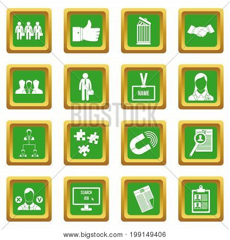 Human resource management icons set in green color isolated vector illustration for web and any design