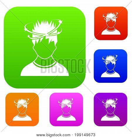 Man with dizziness set icon in different colors isolated vector illustration. Premium collection