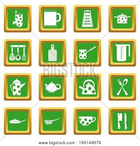 Kitchen tools and utensils icons set in green color isolated vector illustration for web and any design