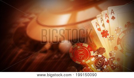 Casino Money Games Bet 3D Concept Illustration. Conceptual Casino Background with Roulette Wheel Blackjack Cards and Betting Chips.