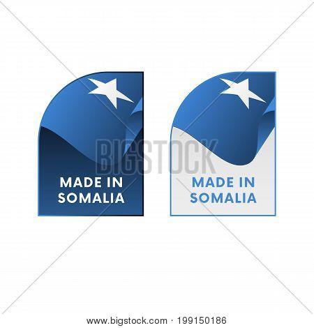 Stickers Made in Somalia. Waving flag. Vector illustration.