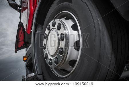 Chromed Truck Wheel Closeup. Heavy Duty Semi Truck Wheel.