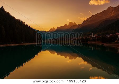 Dolomites Sunset in the Auronzo Di Cadore Norther Italy Europe. Scenic. Santa Caterina Lake