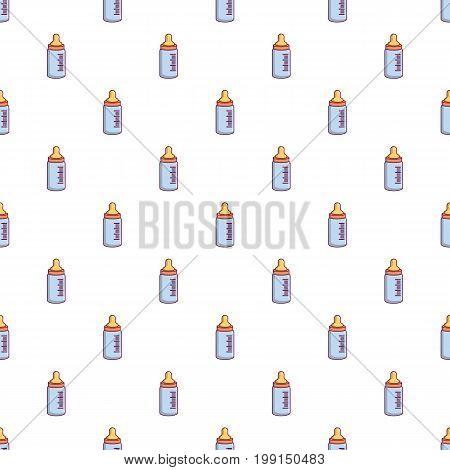 Baby bottle with nipple pattern in cartoon style. Seamless pattern vector illustration