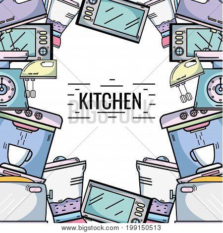 kitchen utensils background decoration design vector illustration