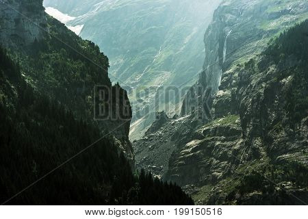 Dramatic Jungfrau Landscape. Gorge with Scenic Glacial Waterfall. Switzerland Europe.