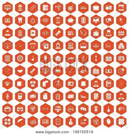 100 department icons set in orange hexagon isolated vector illustration