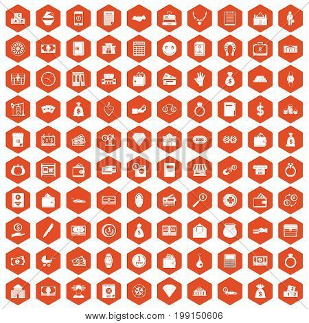 100 deposit icons set in orange hexagon isolated vector illustration