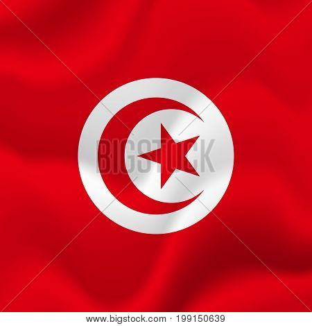 Tunisia waving flag. Waving flag. Vector illustration.