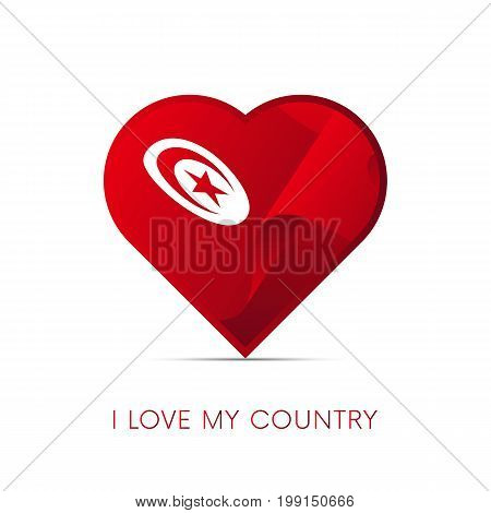 Tunisia flag in heart. I love my country. sign. Vector illustration.