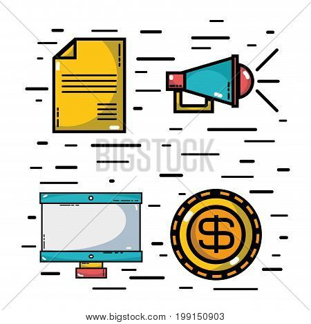 set marketing information with statistics strategy vector illustration
