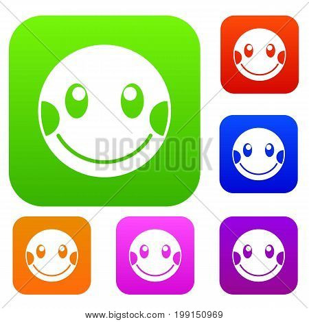 Embarrassed emotset icon in different colors isolated vector illustration. Premium collection