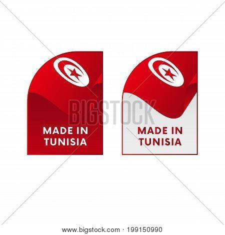 Stickers Made in Tunisia. Waving flag. Vector illustration.