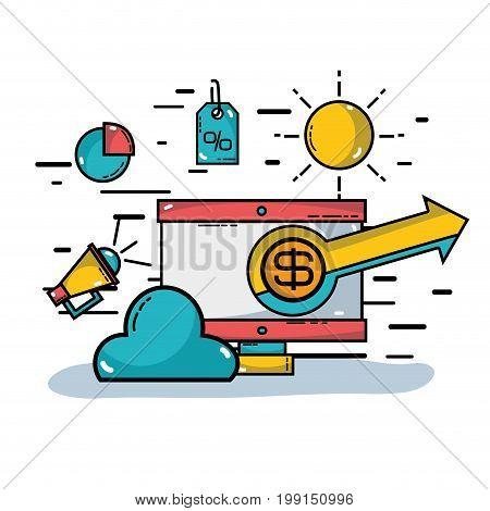 computer with strategy information to merketing finance vector illustration