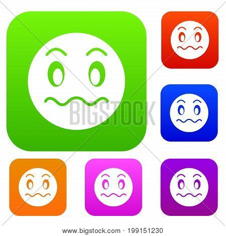 Suspicious emotset icon in different colors isolated vector illustration. Premium collection