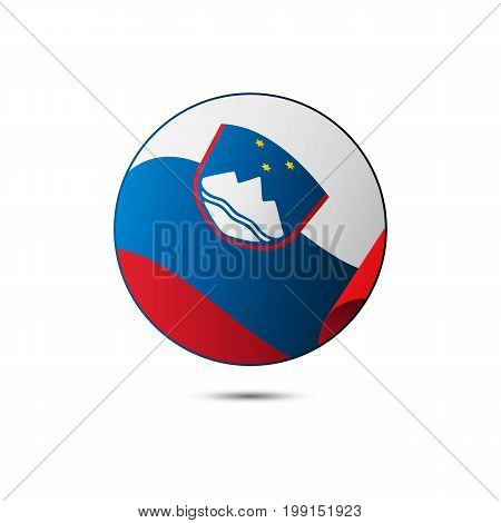 Slovenia flag button with shadow on a white background. Vector illustration.