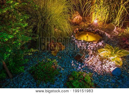 Illuminated Garden with Small Garden Pond. Backyard Illumination.