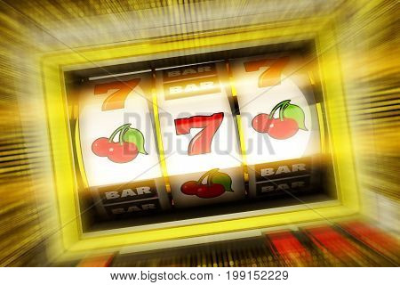 Lucky Casino Slot Spin 3D Rendered Illustration Concept. Golden Fruit Machine.