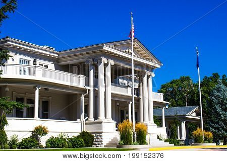 Retro Two Story Structure With Grand Entry