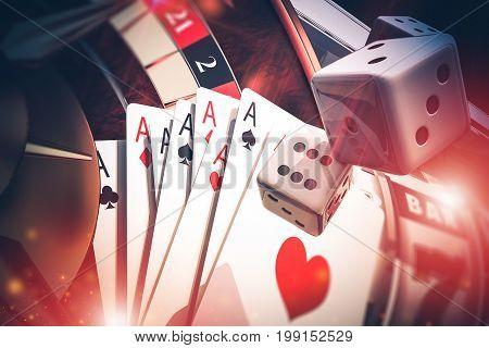 Multi Casino Games Concept 3D Render Illustration. Poker Craps Slot Machine and Roulette.
