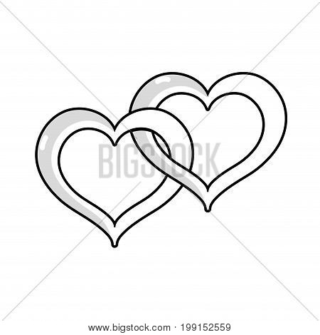 line nice heart symbol to love and passion vector illustration