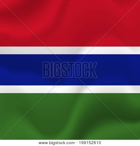 Gambia waving flag. Waving illustration. Vector illustration.
