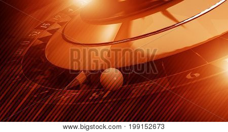 Reddish Roulette Banner Background 3D Rendered Illustration. Casino Roulette Game Concept with Copy Space.
