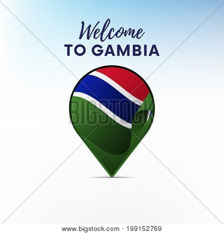 Flag of Gambia in shape of map pointer or marker. Welcome to Gambia. Vector illustration.