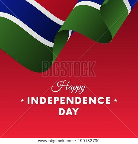 Banner or poster of Gambia independence day celebration. Waving flag. Vector illustration.