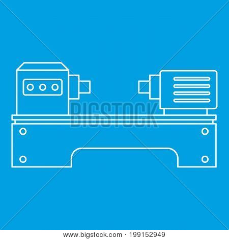 Lathe machine icon blue outline style isolated vector illustration. Thin line sign
