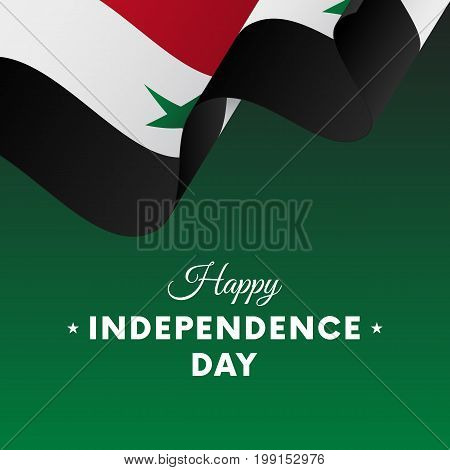 Banner or poster of Syria independence day celebration. Waving flag. Vector illustration.