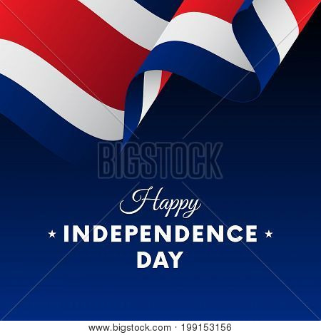 Banner or poster of Costa Rica independence day celebration. Waving flag. Vector illustration.