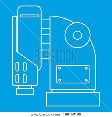 Pneumatic hammer machine icon blue outline style isolated vector illustration. Thin line sign