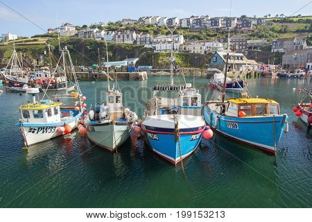 Mevagissey Harbour, Cornwall England 30th May 2017 Small fishing boats in harbour