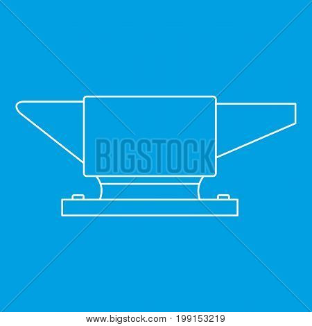 Anvil icon blue outline style isolated vector illustration. Thin line sign