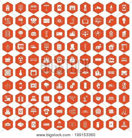 100 electrical engineering icons set in orange hexagon isolated vector illustration