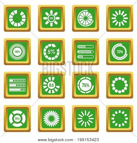 Loading bars and preloaders icons set in green color isolated vector illustration for web and any design