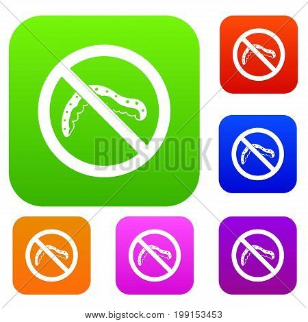 No caterpillar sign set icon in different colors isolated vector illustration. Premium collection