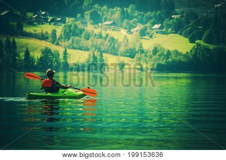 Vacation with Kayak. Scenic Kayak Tour on the Lake.