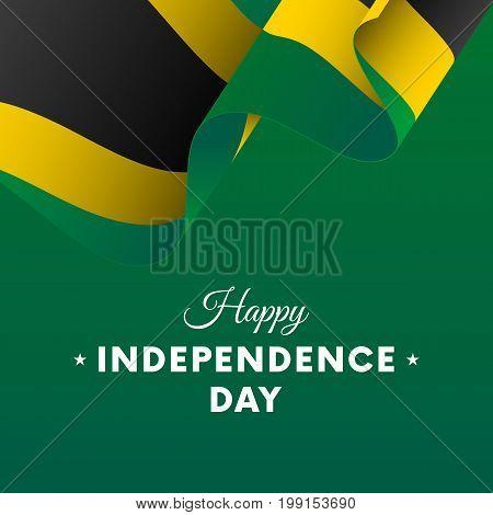 Banner or poster of Jamaica independence day celebration. Waving flag. Vector illustration.