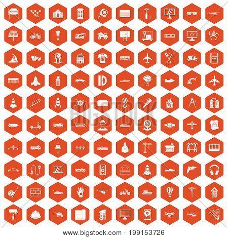 100 engineering icons set in orange hexagon isolated vector illustration