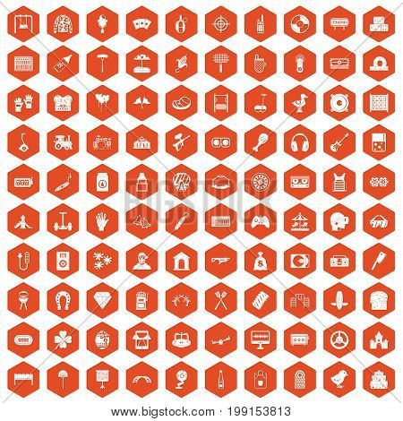 100 entertainment icons set in orange hexagon isolated vector illustration