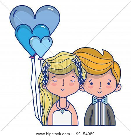 beauty couple married with hairstyle design vector illustration